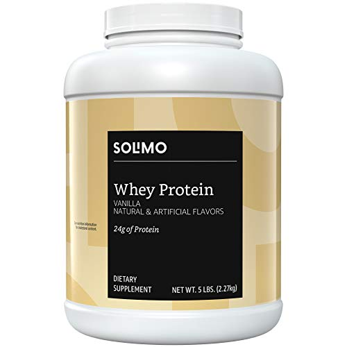 Amazon Brand - Solimo Whey Protein Powder, Vanilla, 5 Pound Value Size (57 Servings) (Best Value Whey Protein)