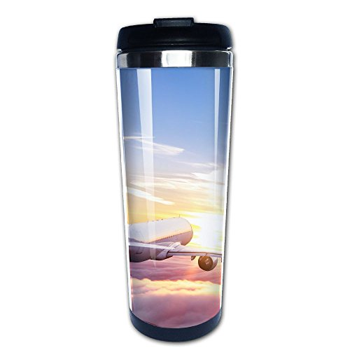 Kooiico Commercial Airplane Flying Above Clouds In Dramatic Sunset Light Very High Resolution Of Image Coffee Mug Thermal Mug With Easy Clean Lid 14-Ounce Mug by Kooiico