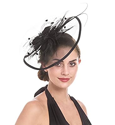 Lucky Leaf Women Girl Fascinators with Hair Clip Hairpin Hat Bowknot Feather Cocktail Wedding Tea Party Hat
