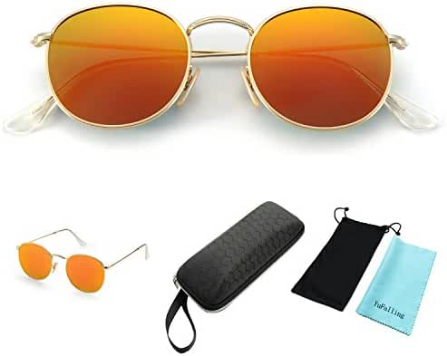 YuFalling Polarized Sunglasses for Men and Women, Classic Vintage Small Round Lens