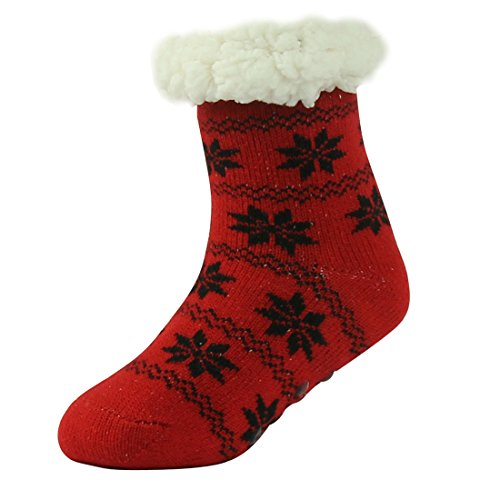 Forfoot Girl's Casual Fluffy Snowflake Thermal Knit Plush Lined Christmas Holiday Stocking Gripper Winter Slipper Socks (Childrens Christmas Slippers)