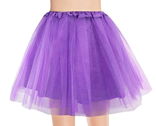 v28 Women's, Teen, Adult Classic Elastic 3, 4, 5 Layered Tulle Tutu Skirt (One Size, 4Layer-Purple)