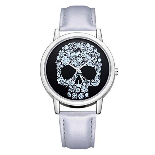 BEUU 2018 Skull Map Leather Strap Watch New Wholesale Price Luxury Fashion Band Analog Quartz Round Wrist Watches Waterproof Bracelet Dial Dress Military (G)