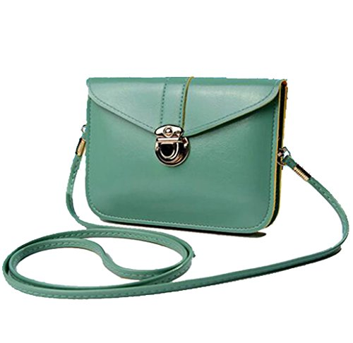 edfamily Women Girls Mini Handbags Leather Crossbody Single Shoulder Bag Cellphone Pouch Purse Wallet(Mint Green)