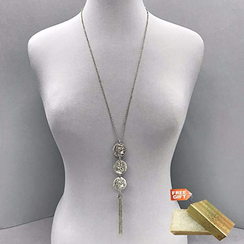 Long Silver Finish Dainty Chain Triple Coin Metal Pendant tassel Necklace Set For Women + Gold Cotton Filled Gift Box for Free