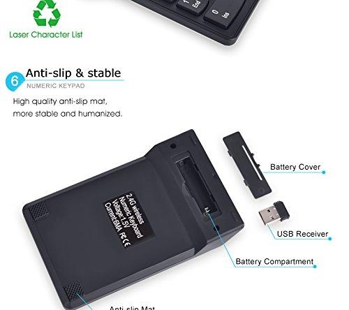 PC YOUQING Kabellose Ziffernblock mit USB-Empf/änger f/ür Laptop Notebook Desktop
