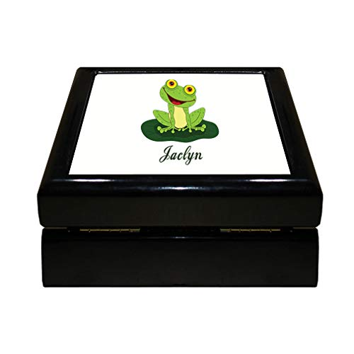 - Style In Print Personalized Custom Text Happy Frog Wood Organizer Jewelry Box 4