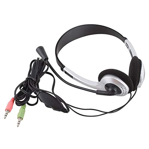 BFHCVDF Earphone Headphone w//Microphone MIC VOIP Headset Skype for PC Computer Laptop Sliver-blackSliver-black