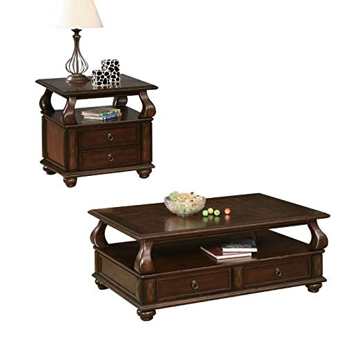 (Acme Furniture Amado 2 Piece Traditional Coffee Table and End Table Set in Walnut)