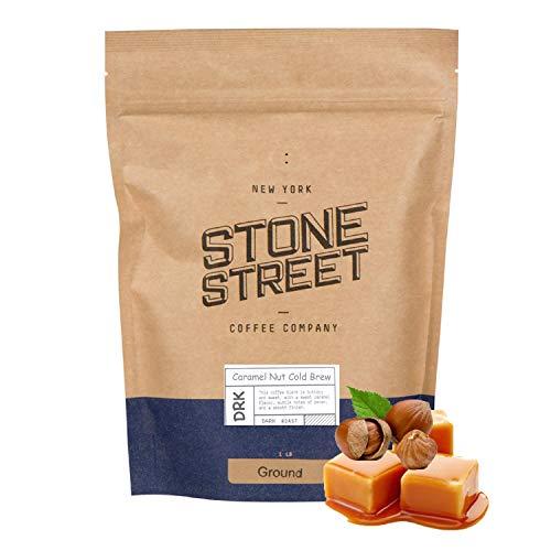Stone Street Cold Brew Flavored Coffee, Natural Caramel Nut Flavor, Coarse Ground Coffee, Dark Roast, 1 LB