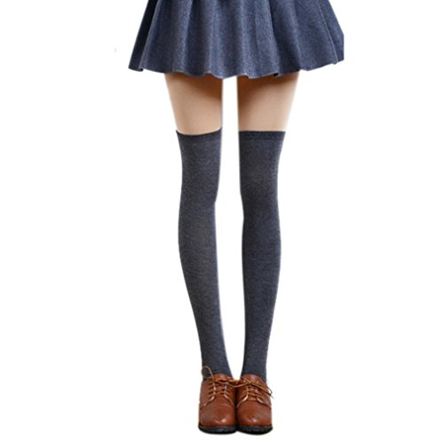 Long Cotton Stockings,Morecome Women Thigh High Over The Knee Socks (Dark Gray) from morecome