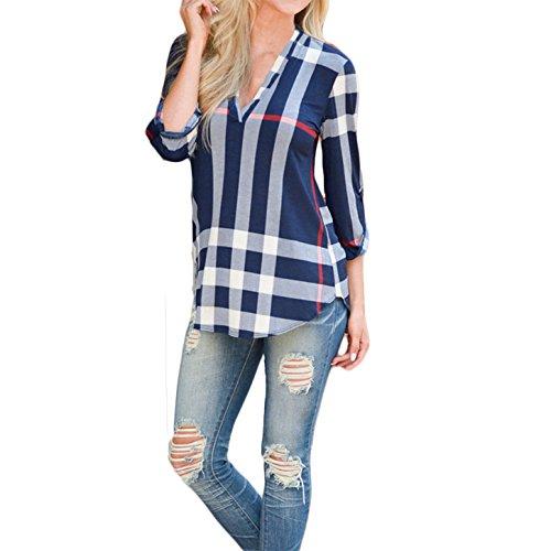 Damen Boho Print Plaid Hemden 3/4 Armel Bluse T-Shirt Oberteile Tops (EU 40(L), Blau)