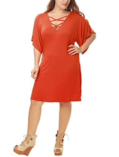 Agnes Orinda Women Plus Size Short Sleeves Strappy Front Swing Dress Orange 2X