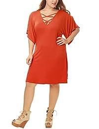 Allegra K Women Plus Size Strappy Front Swing Dress