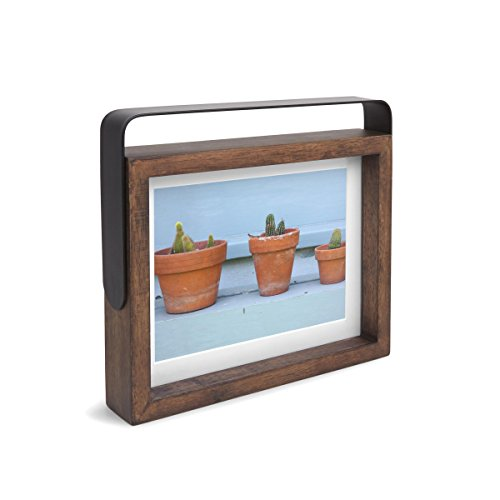 to Frame, Pivoting Metal Handle and Aged Walnut Frame ()
