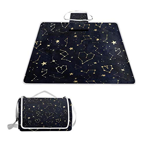 HoDeColor Gold Constellation Heart Star Navy Blue Picnic Blanket Outdoor Tote Waterproof Backing Handy Camping Beach Hiking Mat