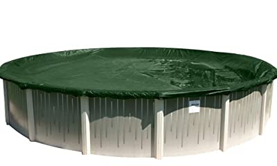 Buffalo Blizzard Split Blocker Winter Cover for 30-Foot Round Above-Ground Swimming Pools | Green/Black Reversible | 4-Foot Additional Material | Rip-Proof Technology