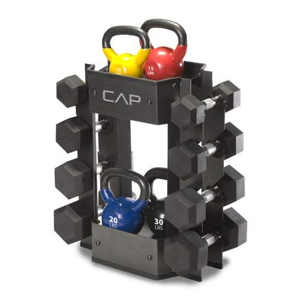 225 lbs Weight Capacity Dumbbell and Kettle Bell Storage Rack, Black
