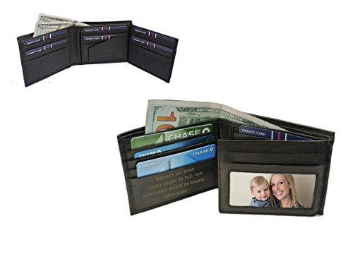 Personalized Men's Black Leather Bi-fold Wallet Custom Engraved Free (Leather Engraved Personalized)