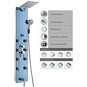 Blue ocean 52 stainless steel spv878392h shower panel with rainfall shower head 8 adjustable for Decor star 005 ss
