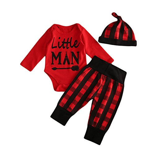 Glosun Baby Boys Daddy's Little Man Long Sleeve Romper Plaid Pants Hat Outfit Clothes Set 3Pcs (6-12 Months, Red) Under Hat Clothing
