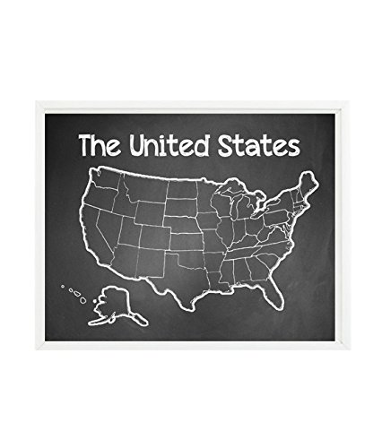 The United States Wall Art, Chalkboard Print, Playroom Art, Nursery Decor, Toddler Room Decor, Travel, Map, Adventure, States, Baby Gift