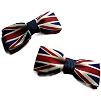 Pack of 2 Union Jack Handmade Bows, Small bows on Clips, Made in the UK.