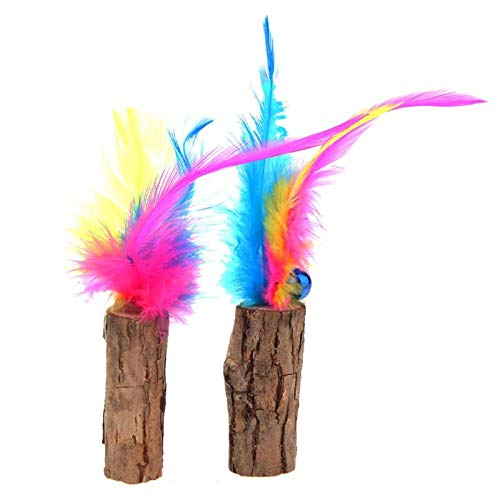 Sticks Krinkle - Cat Toys - 2 Pcs Cat Cleaning Teeth Natural Catnip Pet Molar Toothpaste Wood Stick Catcher Teaser Feathers With - Da Yeowww Puffs Yoohoo Krinkle Assortments Animals Feather Battery Alone