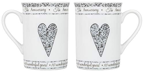 Designed Tin - Beautifully Designed 10th Tin Wedding Set of Ceramic Mugs Dishwasher and Microwave Safe with Decorative Keepsake Box by Happy Homewares