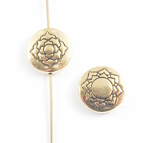 TierraCast Double-Sided Pewter Puffed Coin Beads-Gold LOTUS Flower 14mm (2 Pcs) (Coin Beads Puffed)