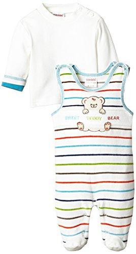 Schnizler Unisex Baby Strampler Nicki, Sweet Teddybär, gestreift, 2 - tlg. Set, Langarmshirt, Gr. 68, Mehrfarbig (original 900)