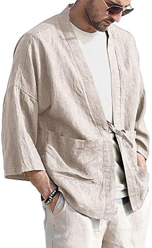 Gemijacka Kimono męska japońska kurtka Haori cienka kardigan z 2 kieszeniami, krÓtka kurtka przejściowa, bawełna: Odzież
