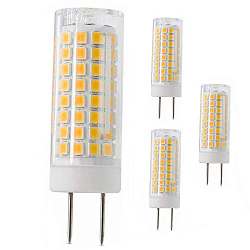 G8 Led Bulb, All New 75W Halogen Bulb Replacement, Dimmable 7W T4 G8 Led Lamps, G8 Bi-pin Base Bulb, AC120V 720lm, Under Cabinet Counter Light, Kitchen Lighting and Puck Lights, 4 Pack (Warm White)