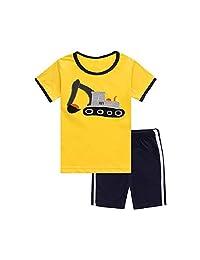 Hooyi Baby Boy Sleepwear Cotton Children Short Sleeve Truck Pajamas Set