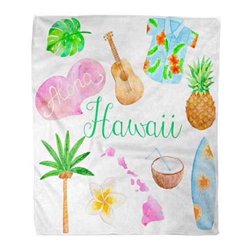 - Emvency Throw Blanket Warm Cozy Print Flannel Ukulele Watercolor Hawaii Island Surf Coconut Comfortable Soft for Bed Sofa and Couch 50x60 Inches