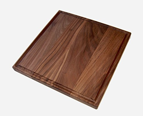 "Board Square 12 Cutting (Walnut Square Wood Cutting Board 12"" Wood Cutting Block, Thick Pre-conditioned w/Juice Groove, Dark Wood Cutting Board/Wood Serving Board 12 x 12 x 1 inch square cutting board, 12x12 Cutting Board)"