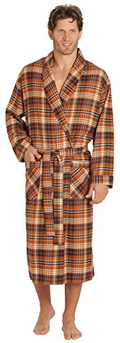 (EVERDREAM Mens Flannel Robe, Shawl Collar Lightweight 100% Cotton Bathrobe, Size Large/X-Large Brown Rust)