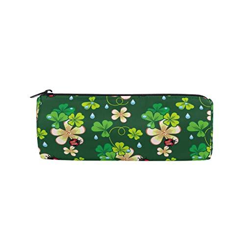Linomo Pencil Case Green St Patrick's Day Shamrock Pencil Pen Bag Pouch Holder for Kids School Office