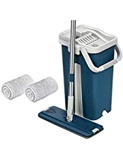 Mop Bucket Two Sinks For Rinse And Spin With 2 Microfibre Replacement - Blue