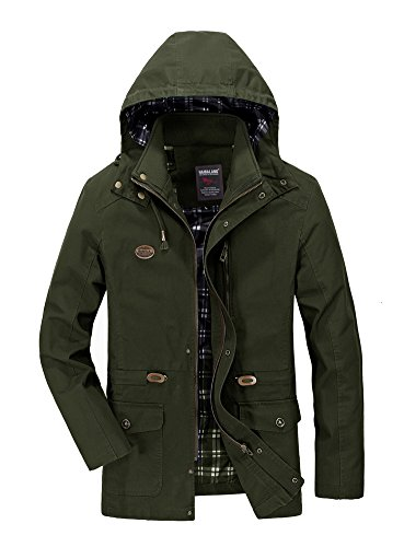 Zipped Long A Autumn Hooded Men's Green Sleeve Casual Lined Spring Minetom Coat Outerwear Trench Army Tops Parka Warm Thicken Jacket wqTIzw1