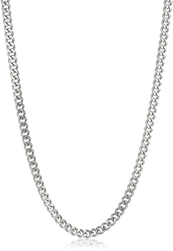 Men's Stainless Steel 2mm Curb Chain Necklace, 24