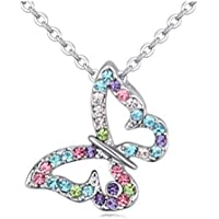 Butterfly Multi-color Crystal Charm Pendant Necklace for Girls, Teens and Women