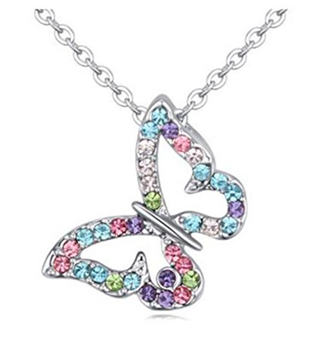 Butterfly Multi-color Crystal Charm Pendant Necklace for Girls, Teens and Women (Colorful) (Child Pendant Butterfly)