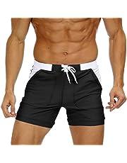 MAGNIVIT Men's Swimwear Swimsuits Solid Basic Long Swim Boxer Trunks Board Shorts with Pockets