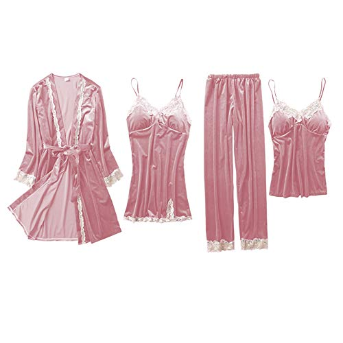 Women's Pajama Sets Elegance 4pcs Velvet Pajamas Womens Sleepwear Sets with Chest pad (Pink, XXL)