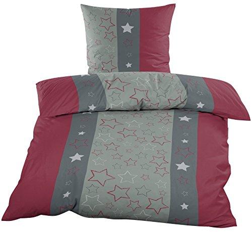2 tlg. Biber 100% Baumwolle Winter Bettwäsche ,135x200 + 80x80 in brombeer grau Sterne mit Reissverschuß / Winterbettwäsche Home-Impression