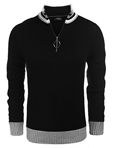 COOFANDY Mens Business Casual Crew Neck Long Sleeve Sweater Quarter-Zip Pullover,Black,Large by COOFANDY