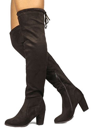 - DREAM PAIRS HIGHLEG Women's Thigh High Fashion Over The Knee Drawstring Strech Block Mid Heel Boots BROWN-SZ-10