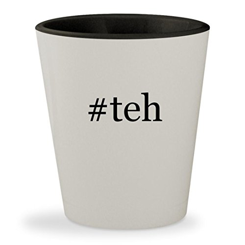 #teh - Hashtag White Outer & Black Inner Ceramic 1.5oz Shot Glass