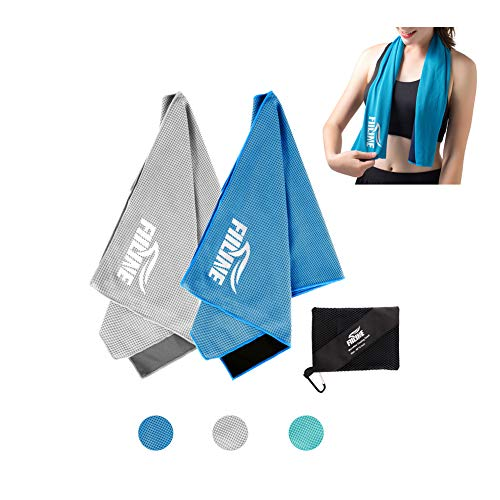 FIILINE Cooling Towel Yoga Towel 2 Pack Instant Cold Towels 40x 12 Soft Ice Towels for Running, Biking, Gym, Camping. Fitness, Travel, Golf, Tennis, Outdoor and More (Blue + Grey)